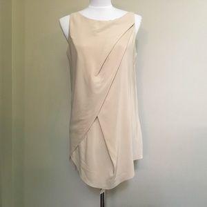 $880 BRUNELLO CUCINELLI tan Tunic Drape silk top L